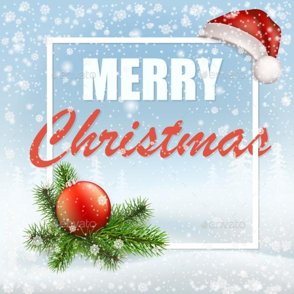 Christmas Greeting Card with Santa Cap - Christmas Seasons/Holidays