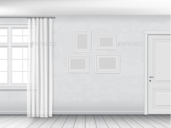 White Interior with Window and Door - Buildings Objects