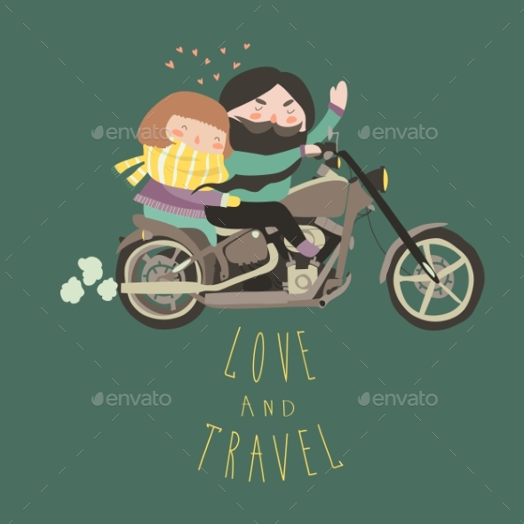 Happy Couple in Love Riding a Motorcycle - People Characters