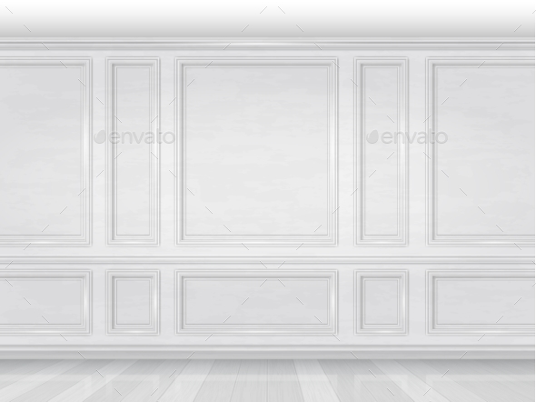White Wooden Wall Panel - Buildings Objects