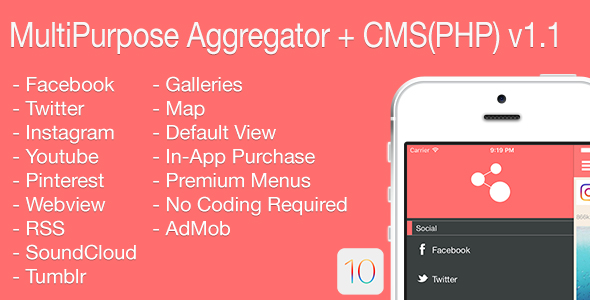 Multi-Purpose Aggregator + CMS(PHP) iOS Application v1.1 - CodeCanyon Item for Sale
