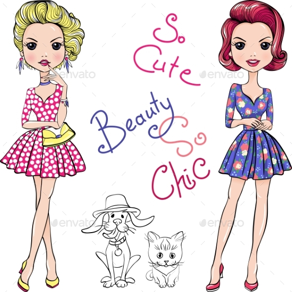 Fashion Girls with Dog and Cat - People Characters