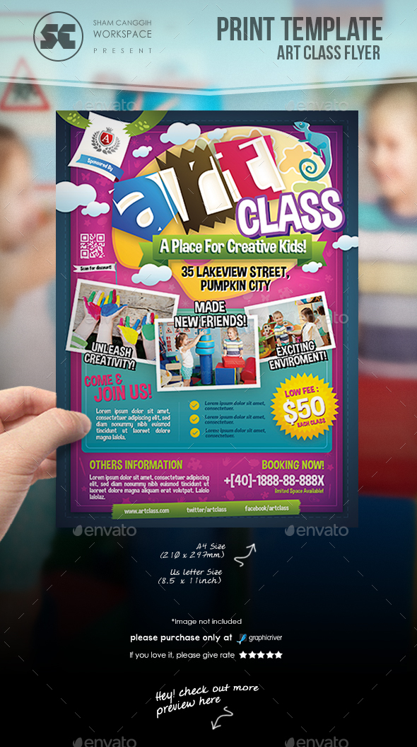 art class flyer by shamcanggih graphicriver. Black Bedroom Furniture Sets. Home Design Ideas