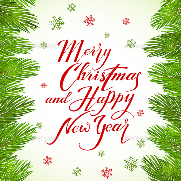 Lettering Merry Christmas and Happy New Year on White Background by losw