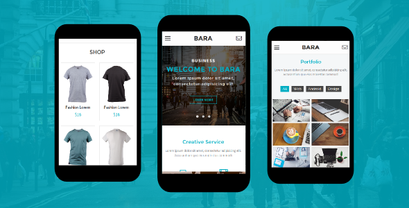 Bara - Creative Mobile Template - Mobile Site Templates