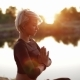 Beautiful Sexy Girl Meditates in Nature - VideoHive Item for Sale