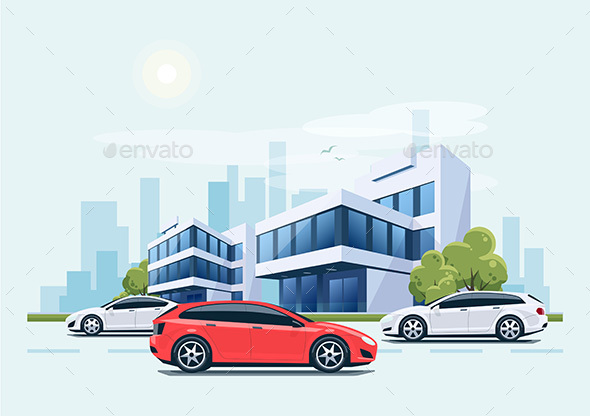 Street Road with Cars in front of Office Buildings and City Background - Concepts Business