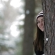 Girl in the Forest Plays with Snow - VideoHive Item for Sale