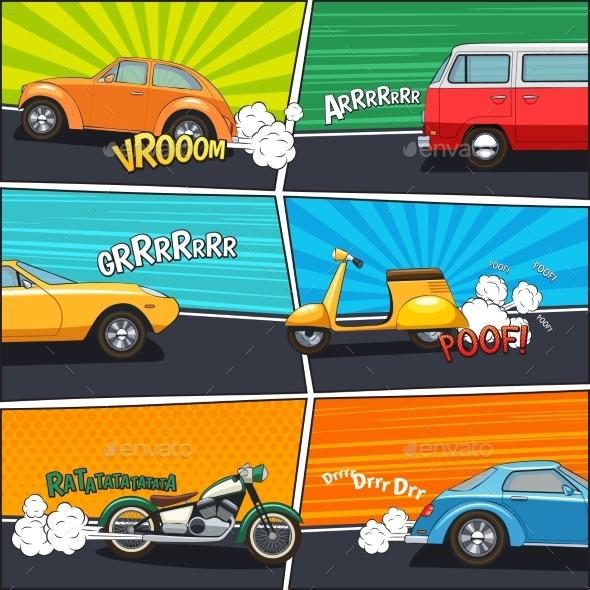 Comic Frames Transport - Decorative Vectors