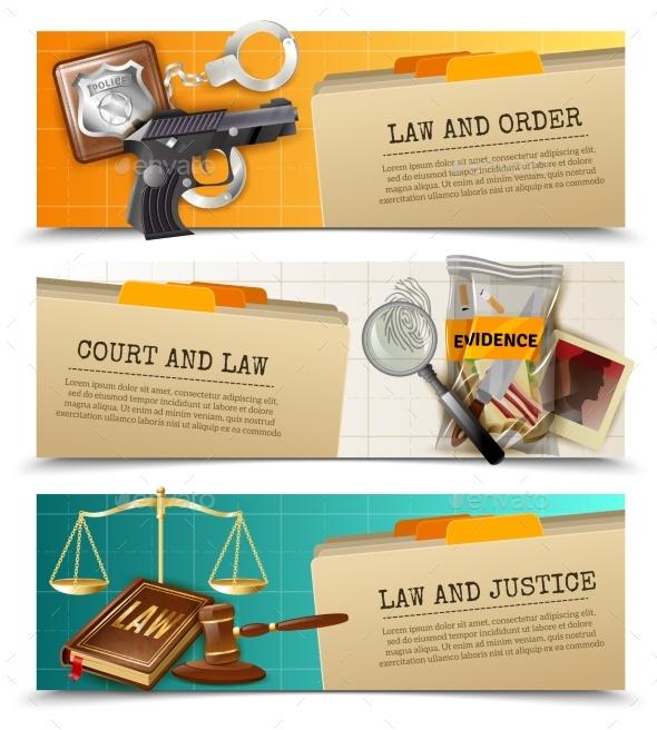 Law Justice Flat Horizontals Banners Set - Decorative Vectors