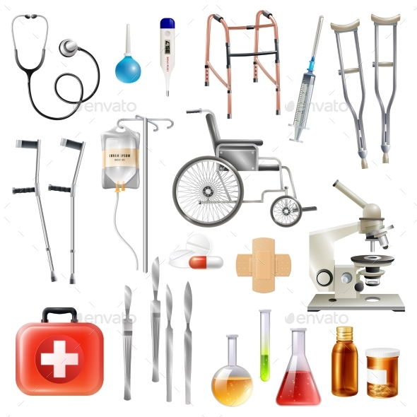 Healthcare Medical Accessories Flat Icons Set - Health/Medicine Conceptual
