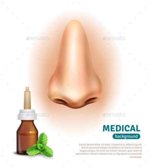 Nose Spray Bottle Medical Background Poster - Health/Medicine Conceptual
