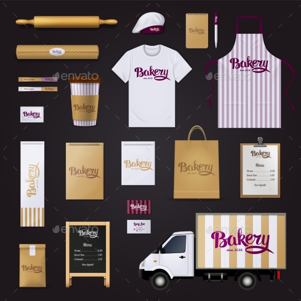 Bakery Corporate Identity Template Design Set - Backgrounds Business