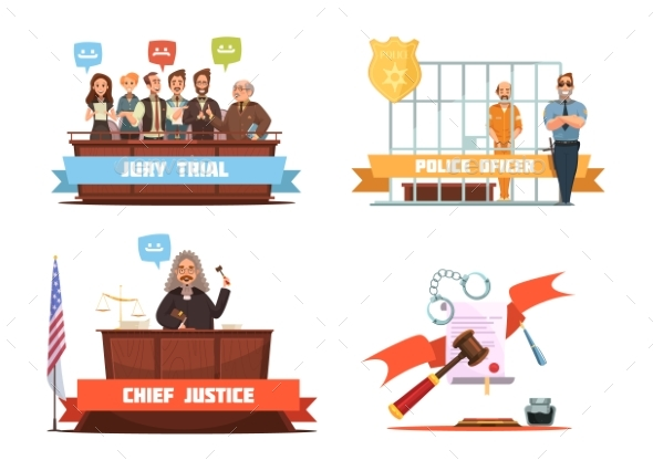 Law Justice 4 Retro Cartoon Icons - Conceptual Vectors