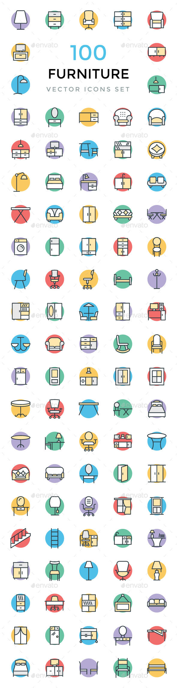 100 Furniture Vector Icons - Icons