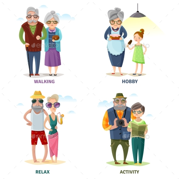 Old People Cartoon Collection - People Characters