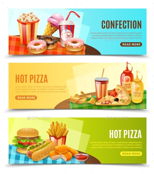 Fast Food Horizontal Banners Set - Food Objects