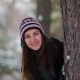 Girl in Winter Forest Posing on Camera - VideoHive Item for Sale