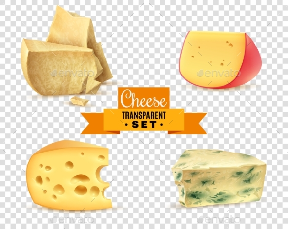 Cheese 4 Realistic Images Transparent Set - Food Objects