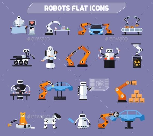 Robots Icons Set - Technology Conceptual