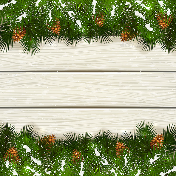 White Wooden Background with Christmas Fir Tree Branches and Snow - Christmas Seasons/Holidays
