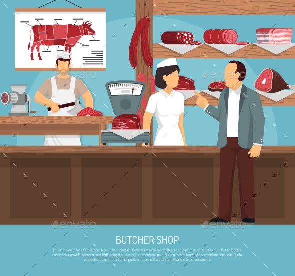 Butcher Meat Shop Flat Poster - Conceptual Vectors