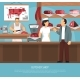 Butcher Meat Shop Flat Poster