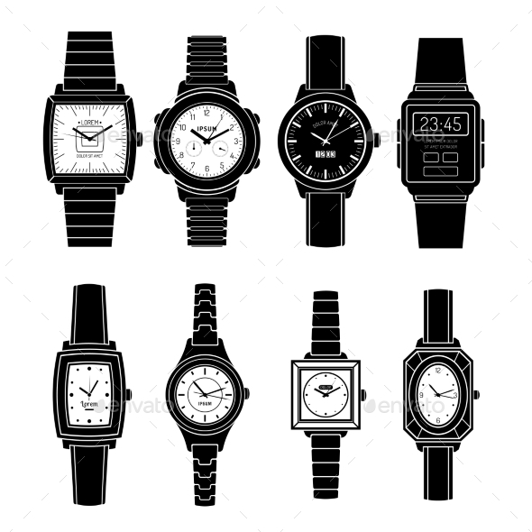 Popular Watches Styles Black Icons Set - Objects Vectors