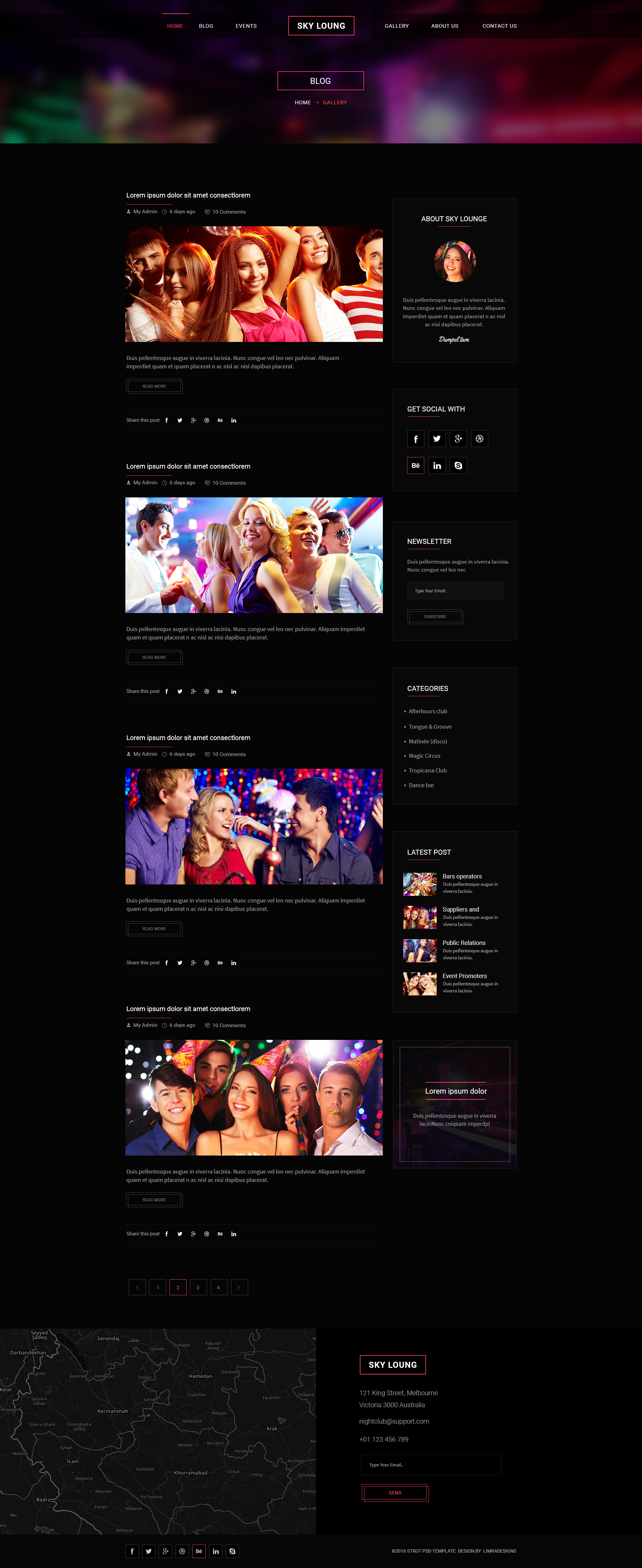 Sky Loung - Event, DJ, Party, Music Club PSD Template by limradesigns