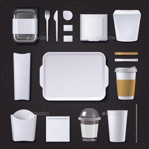 Burger Bar Packaging Realistic Set - Business Conceptual