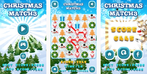 Christmas Match3 - HTML5 Game + Android + AdMob (Capx) - CodeCanyon Item for Sale