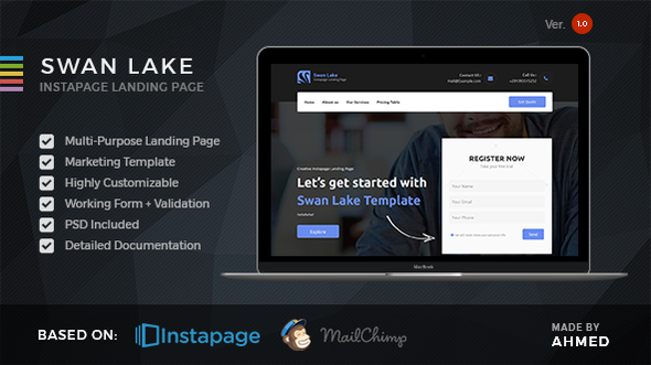 Swan Lake - Marketing Instapage Template - Instapage Marketing