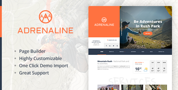 Extreme sports WordPress theme for outdoor adventure businesses – Adrenaline