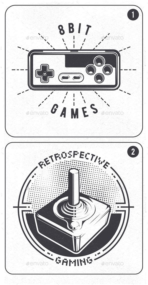 2 Retro Video Game Joystick Emblems - Miscellaneous Vectors