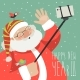 Cartoon Style Santa Claus Making Selfie