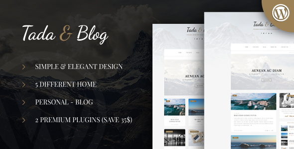 Tada & Blog – Personal Blog WordPress Template