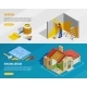 Home Renovation Isometric Horizontal Banners - GraphicRiver Item for Sale