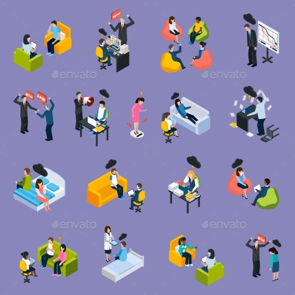 Depression And Stress Isometric Icons - Abstract Conceptual