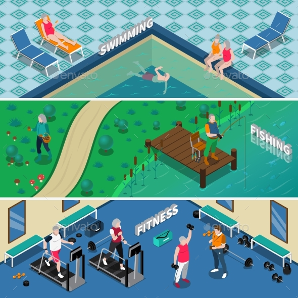 Elderly People Isometric Banners - Sports/Activity Conceptual