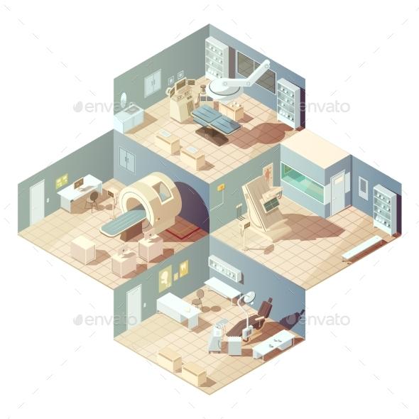 Isometric Hospital Concept - Health/Medicine Conceptual