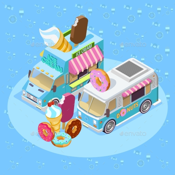 Food Trucks Isometric Composition Poster - Backgrounds Business