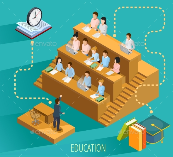 University Education Concept Isometric Poster - Conceptual Vectors