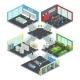 Multistore Supermarket Isometric Composition