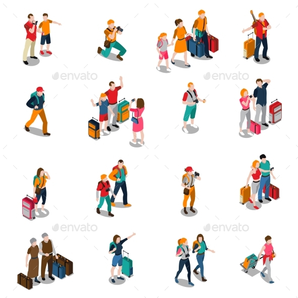 Travel People Isometric Icons - People Characters
