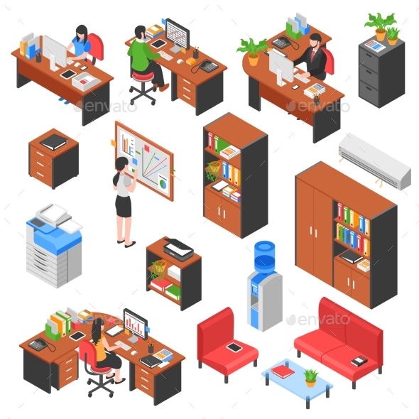 Isometric Office Elements Set - Decorative Vectors