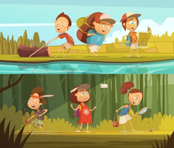 Kids Camping Banners Set - People Characters