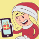 Christmas Girl Holding Phone - GraphicRiver Item for Sale