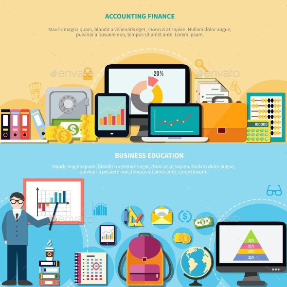 Business Education And Accounting Finance Banners - Backgrounds Business