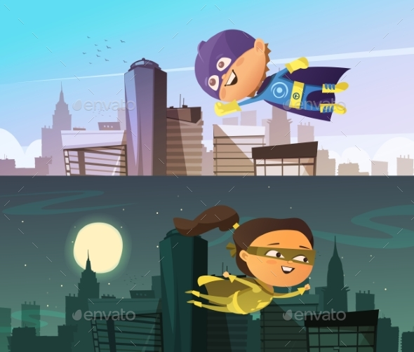 Kids Superhero Two Horizontal Banners - People Characters