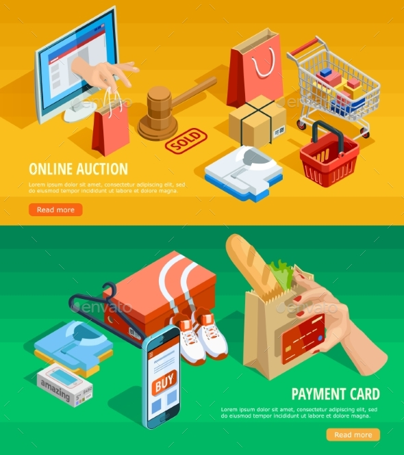 Online Shopping E-commerce Isometric Banners - Business Conceptual